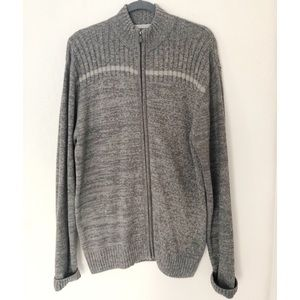 Gray Extra Large XL Zip Front Structure Sweater